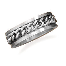 7.5mm 316l Stainless Steel Spin Ring With Curb Chain Center - Ring Size: 8 to 13