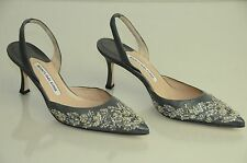 $1285 New MANOLO BLAHNIK Carolyne Grey Silver Beads Jeweled Slingback SHOES 37.5