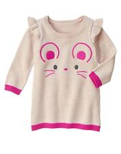 NWT Gymboree WOODLAND WONDER  Baby Girls Mouse Face Sweater Dress Size 18-24M