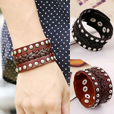 Unisex Punk Style Rivet Knitted Wide Leather Bangle Alloy Cuff Bracelet Fashion