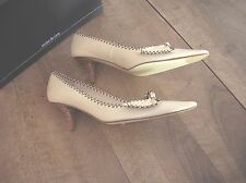 leather court shoes cream NEW Mine Rien Heel 6cmVal E size 37.5,38.5