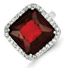 Sterling Silver Square Clear and Red CZ Ring - Ring Size: 7 to 9