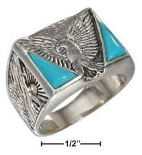 Sterling Silver Mens Created Turquoise Eagle Ring - Ring Size: 09 to 13