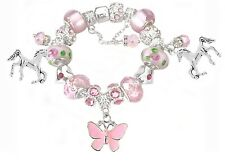 Girls Pink Pony Horse  Butterfly Charms European Charm Bracelet Swarovski Beads
