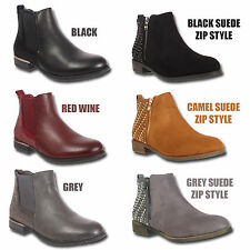 LADIES WOMENS CHELSEA BLOCK LOW  HEEL DIAMANTE WESTERN PULL ON ANKLE BOOTS SIZE