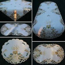 Christmas Tablecloth Table runner Doily Cream-White Gold Candle Bell Embroidery