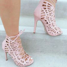 Blush Perforated Cut Out Lace Up Peep Toe Bootie Heels, US 10, 11