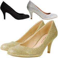Womens DOLCIS Sparkly Glitter Mid Kitten Heel Party Wedding Bridal Court Shoes