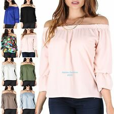 New Women's Celebrity Off The Shoulder Plain Shirred Frill  ¾ Sleeve Bardot Top
