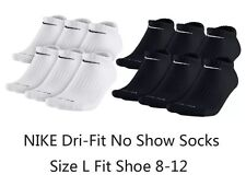Nike Dri Fit No Show Socks 6 Pair Pack White Black Size Large 8-12