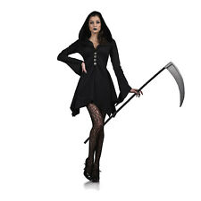 Womens Hooded Grim Reaper Salem Witch Halloween Costume Blac,k Dress Classic
