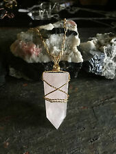 Rose Quartz Crystal Point Pendant - Brass Wire Wrapped Pendant