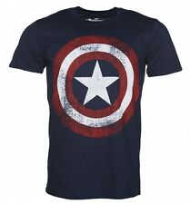 Official Men's Navy Marvel Distressed Captain America Shield Logo T-Shirt