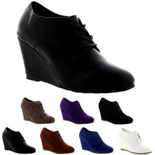 Womens Mary Jane Wedge Heel Evening Platform Lace Up Shoes Ankle Boots US 5-11