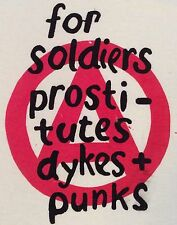 """Westwood Seditionaries Punk T-shirt Soldiers Prostitutes Dykes & Punks Sm36"""" New"""