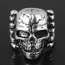Skull Ring Bones Skeleton Gothic Biker Rock 316L Stainless Steel 8-12 US Size !