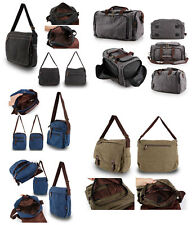 Mens Military Canvas Travel Hiking Satchel School Shoulder Messenger Bag Holdall
