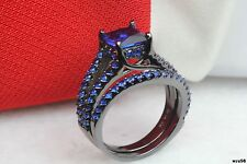 Bridal Blue Sapphire Gothic Black Plated 925 Silver Engagement Wedding Rings Set