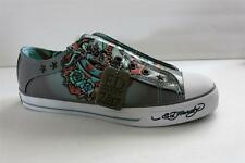 Ed Hardy Lowrise Women Gray Patent Leather Fashion Sneaker Size 5 M Eur 36 New