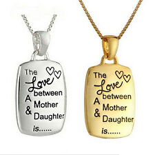 Gold Silver Mother&Daughter Love Engraved Pendant Necklace Chain Mom Mum Gift