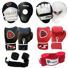 BOXING GLOVES FOCUS PADS HAND WRAPS FIGHT COLOUR RED BLACK 10-12-14-16 OZ SET-B2