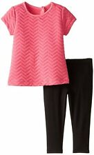 NICOLE MILLER Baby Girl Quilted Short Sleeve Tunic Top Legging Set Outfit 12 M