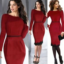 Womens Elegant Lace Pencil Dresses Slim Office Evening Party Bandage Bodycon