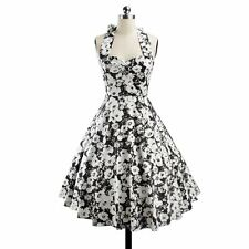 Rockabilly 50s 60s Pin Up Cocktail Party Evening Retro Swing Dance Halter Dress