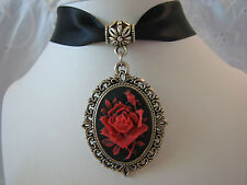 RED VICTORIAN ROSE CAMEO CHOKER NECKLACE HANDCRAFTED ARTISAN JEWELRY USA