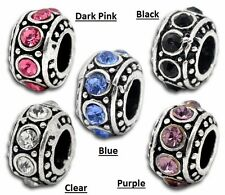 Silver Plate Round Rondelle CZ Crystal Birthstone Spacer Bead Charm fit Bracelet