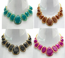 Fashion European Style Golden Alloy Resin Gem Rhinestone Drop Choker Necklace