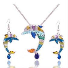 Ethnic Hot Enamel Women Dolphin Gold Plated Necklace Earring Set Jewelry Sets