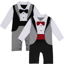 Kid Infant Baby Boys Formal Tuxedo Gentleman Suit Bow Tie Romper Jumpsuit Pants