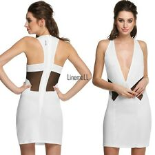 Fashion Women Sleeveless Deep V-neck Back Hollow Out Party Cocktail Dress LM