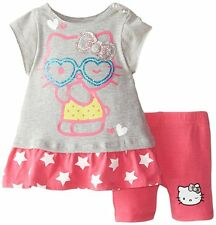 HELLO KITTY Baby Girls Two Piece Graphic Tunic Bike Shorts Set Outfit Gray 6/9 M