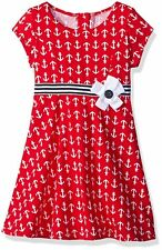 GOOD LAD Baby Girl Nautical Anchor Print Cotton Dress Red White Blue Sailor 12M