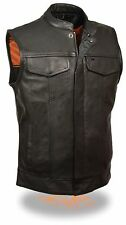 Mens SOA Leather Vest w/ Zipper & Snap Front & 2 Gun Pockets
