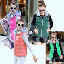 Womens Winter Warm Cotton Waistcoat Slim Hooded Outwear Vest Sleeveless Coat