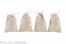 Set 4 Hessian Pink LOVE HEART Rustic Gift Bags Wedding Favours Bridesmaid Xmas