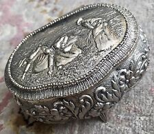 Antique Edwardian Ornate & Intricate Small English Silver Plated Trinket Box