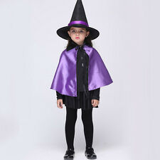Sorceress Witch + Hat Girls Fancy Dress Halloween Kids Childrens Costume Outfit