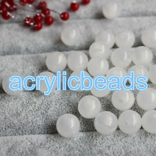 8mm/10mm/12mm White Acrylic Round Ball Spacer Beads Plastic Craft Beads 50pcs