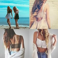 DELICATE BRALETTE CAGED BACK CUT OUT STRAPPY PADDED BRA BRALET VEST CROP TOP SY
