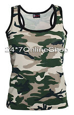 Ladies Army Camouflage Vest Top Camo Fancy Dress Costume Halloween