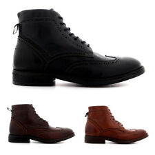 Mens H By Hudson Anderson Leather Work Smart Brogue Lace Up Ankle Boots UK 6-12