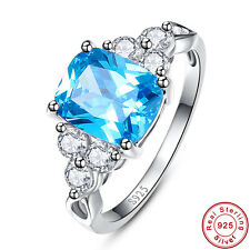 Swiss Blue & White Topaz 100% S925 Sterling Gemstone Silver Ring Size 6 7 8 9