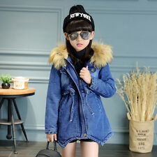 Kids Girls Winter Denim Jackets Coats Children Velvet Hooded Long Warm Outwear