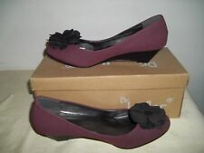 TOMMY&KATE  BURGUNDY SUEDETTE WEDGE SHOES UK SIZES 6/8 BRAND NEW BOXED