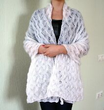 HAND MADE KNITTED WOMEN'S WHITE SHAWL SCARF WRAP MOHAIR NEW