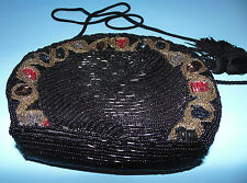 Black Beaded Evening Purse Handbag w Colorful Bead Trim by Accessory Lady
